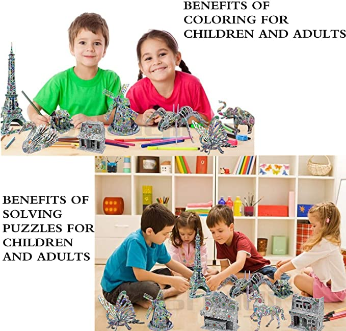 AivaToba 3D Colouring Jigsaw Puzzle Set 4 Animals Puzzles 2 Toy Jigsaw with 12 Pen Markers 3D Coloring Art for Kids Adults Children 6 Pack 3D Puzzle Painting
