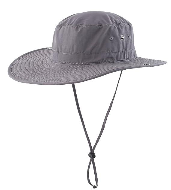 d58756b47ca Connectyle Unisex Daily Outdoor Cowboy Sun Hat Wide Brim Bucket Fishing Hats  Summer String Hat Cap