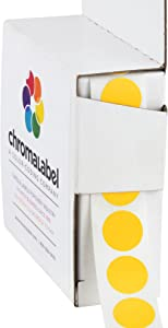 ChromaLabel 1/2 Inch Round Permanent Color-Code Dot Stickers, 1000 per Dispenser Box, Goldenrod
