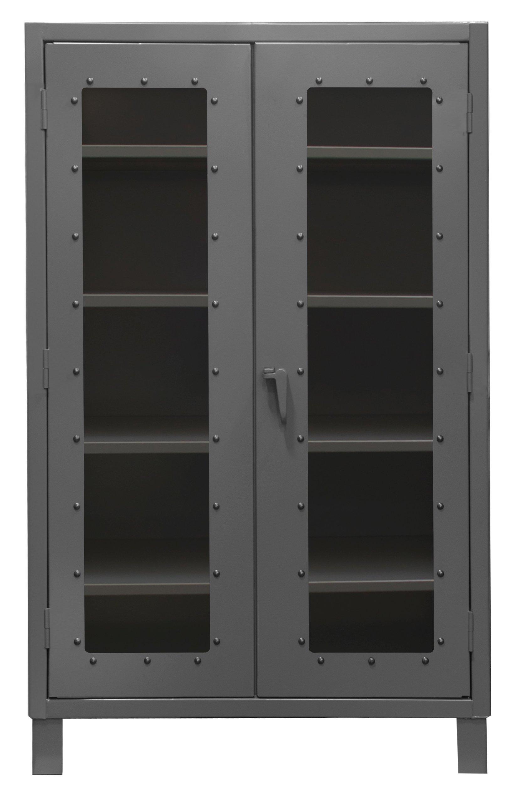 Durham Extra Heavy Duty Welded 12 Gauge Steel Clearview Lockable Storage Cabinet with Lexan Door, HDCC244878-4S95, 1200 lbs Shelf Capacity, 24'' Length x 48'' Width x 78'' Height, 4 Shelves