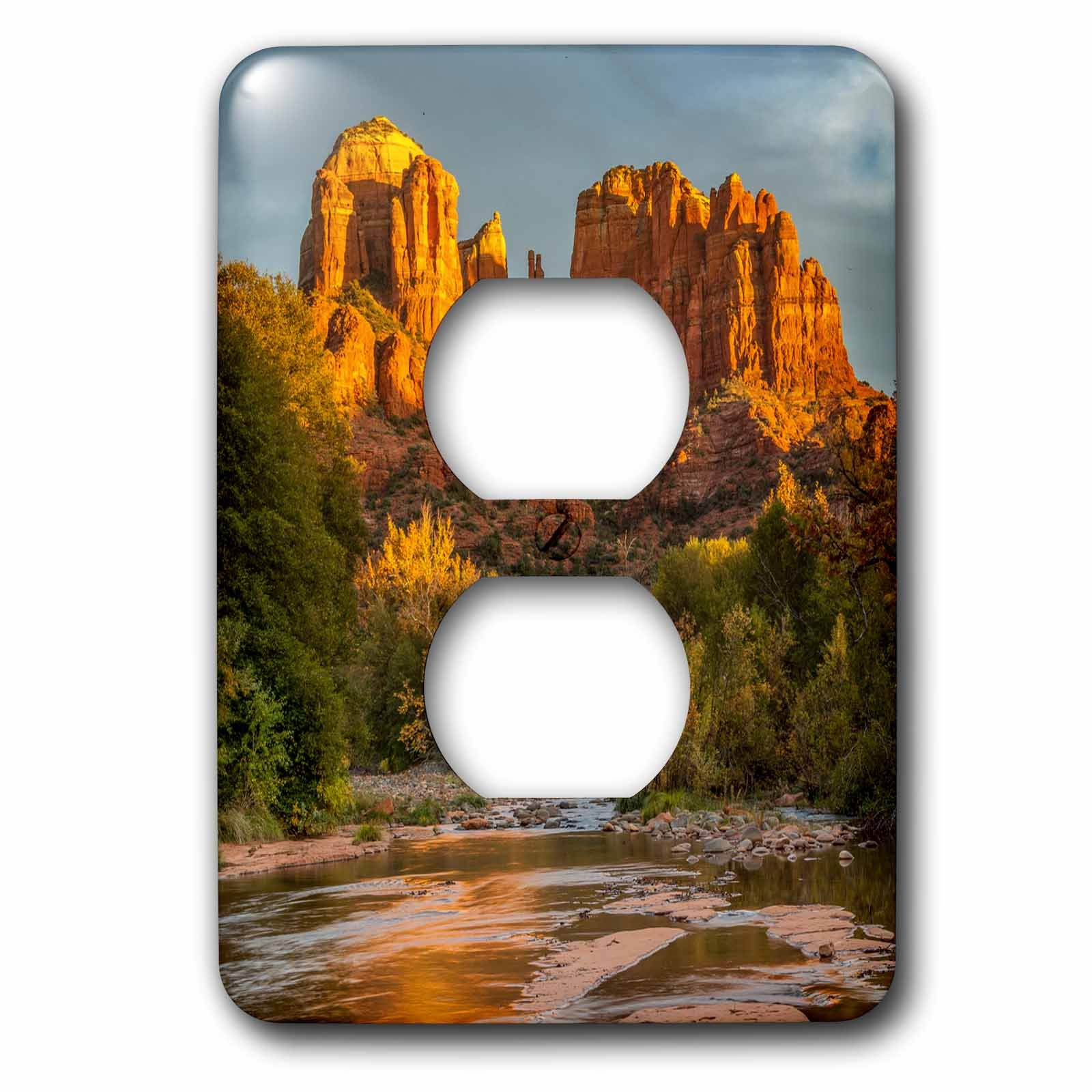 3dRose Danita Delimont - Deserts - USA, Arizona, Sedona, Cathedral Rock - Light Switch Covers - 2 plug outlet cover (lsp_278451_6) by 3dRose
