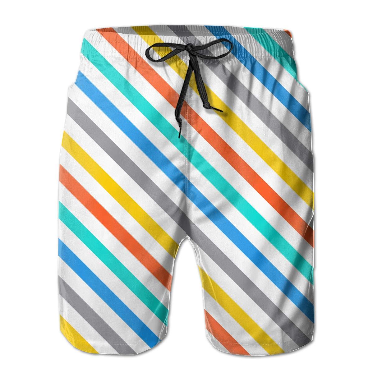 APPCLL Fashion Swim Trunks Mens Board Shorts Diagonal Colorful Stripes Vector Quick Dry Shorts
