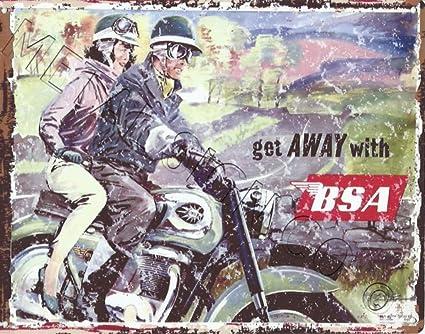 BSA para moto anuncio garaje Metal Sign Retro Vintage estilo ...