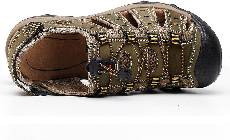 Summer Beach Breathable Men Sandals Genuine Leather Mens Sandal Man Causal Shoes Plus Size 39-48,Light Brown Sandals,8