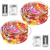 YIHONG 2 Set String Lights Led Fairy Lights Battery 8 Modes 50 LED 16.4FT Fairy String Lights Portable Twinkle Firefly Lights Remote Timer for Garden Party Easter Indoor/Outdoor Decoration-Multicolor