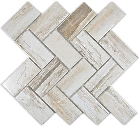 Mosaïque pour carrelage céramique beige chevrons en bois ...