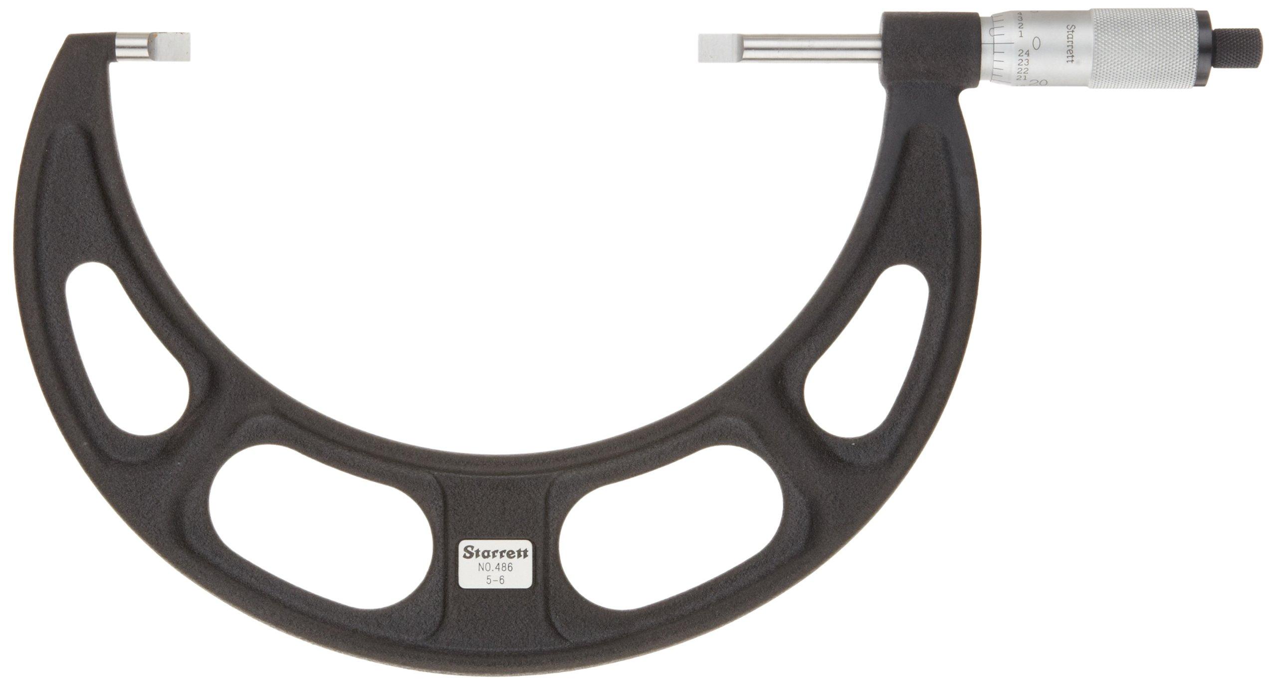 Starrett 486P-8 Blade-Type Micrometer, Non-Rotating Spindle, Plain Thimble, 7-8'' Range, 0.001'' Graduation