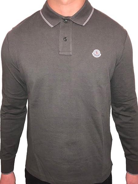 Moncler Tipped Piqué Men Long Sleeve Polo Shirt (Grey, XXL)