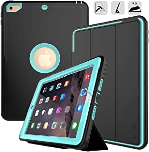 iPad 9.7 2017/2018 case - DUNNO Heavy Duty Full Body Rugged Protective Case with Auto Sleep/Wake Up Stand Folio & Three Layer Design for Apple iPad 9.7 inch 2017/2018 (Black+Light Blue)