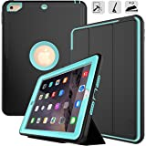 New iPad 9.7 2017/2018 case - DUNNO Heavy Duty Full Body Rugged Protective Case with Auto Sleep/Wake Up Stand Folio & Three Layer Design for Apple iPad 9.7 inch 2017/2018 (Black+Light Blue)