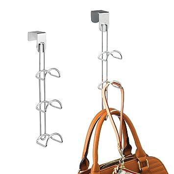 mDesign Juego de 2 percheros para puerta – Colgadores para bolsos, bolsas y mochilas – Organizadores de armarios con 3 ganchos cada uno – Fabricados ...