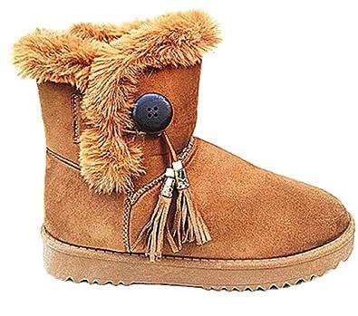e2b5693cb185 Femme Bottine Chaussure fourrées FOURRURE Plat chaud botte fille hiver  Talon CNT-09 CAMEL (