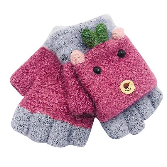 Children Girls Boys Winter Cartoon Animal Patchwork Winter Warm Mittens Gloves