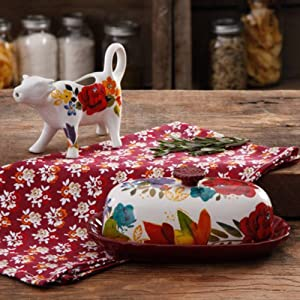 The Pioneer Woman Timeless Floral Butter Dish and Cow Creamer (1)