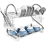 """2-Tier Dish Rack and DrainBoard, 20.2"""" x15"""" x10"""" Kitchen Chrome Cup Dish Drying Rack Tray Cultery Dish Drainer (white)"""