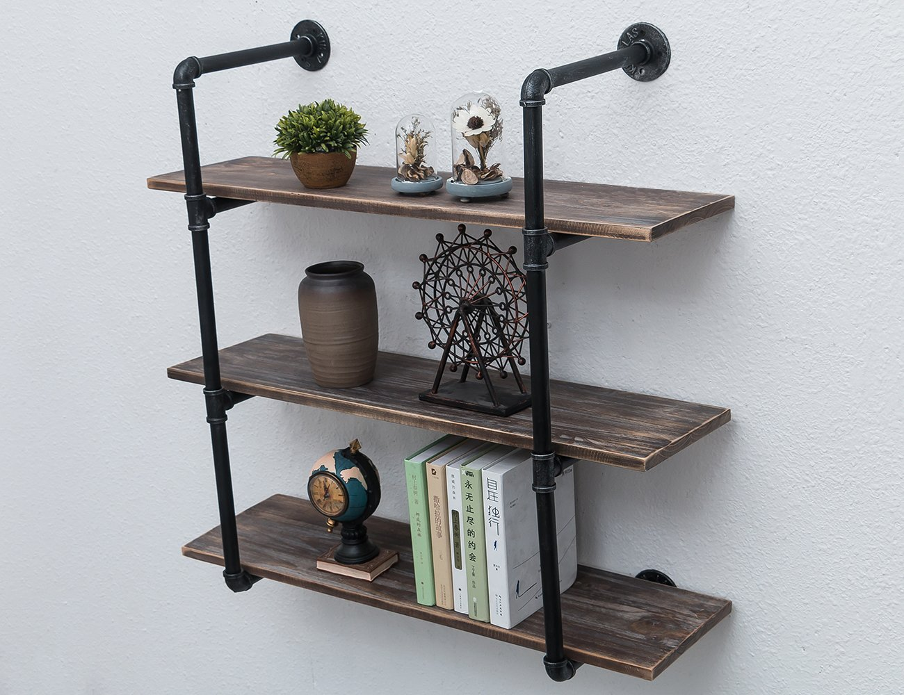 MBQQ Industrial Iron Pipe Shelf DIY with Wood 36.2in Retro Storage Book Shelves Wall Mounted Shelving Hung Bracket 3-Shelf Organizer 5