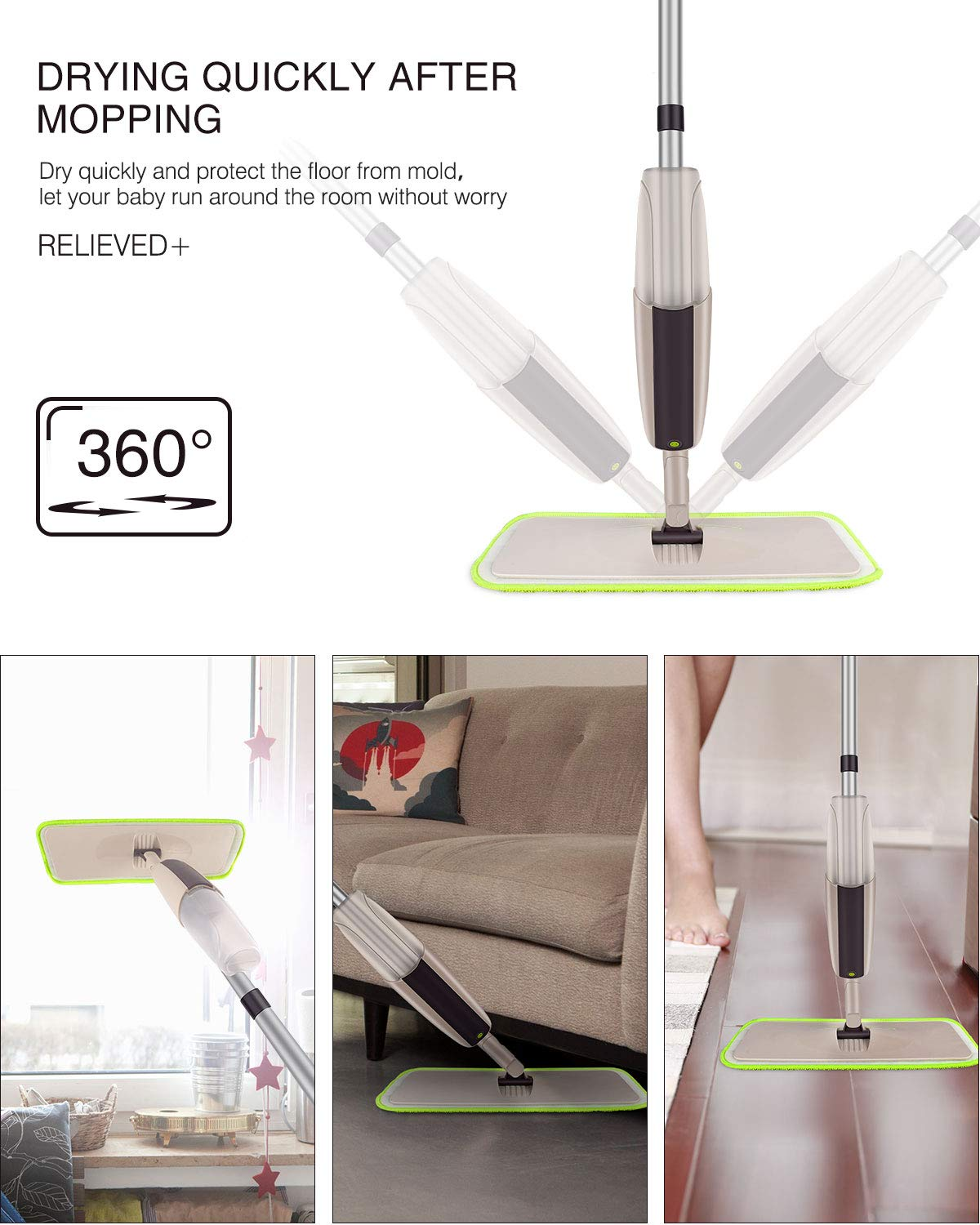 Hardwood Spray Mop for Floor Cleaning, CXhome Microfiber Mop for Tile Floors, Wet Dry Mop with Sprayer and 2 Mop Pads, 1 Refillable Bottle by CXhome (Image #5)
