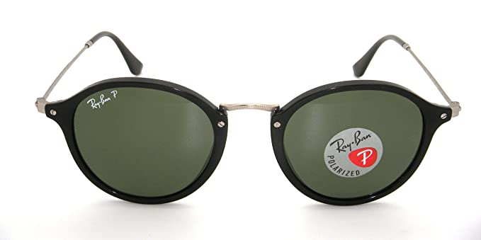 Amazon.com: Ray-Ban Round RB 2447 901/58 49mm Black Frame with Green ...