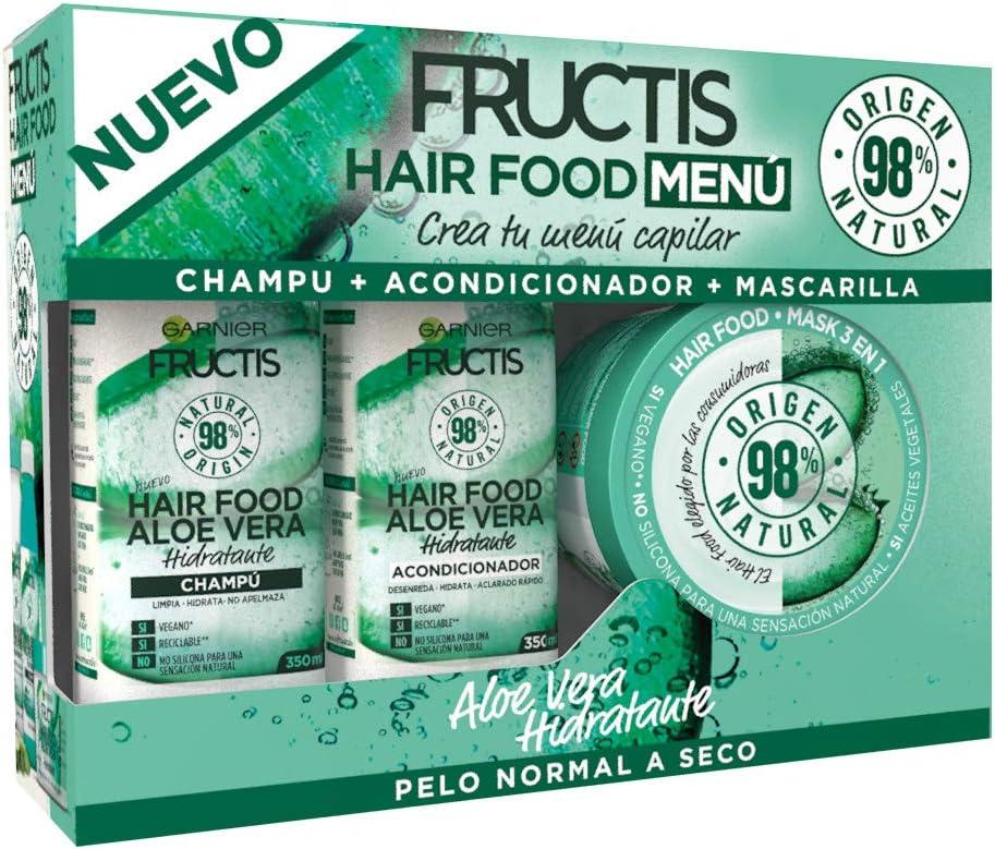 Garnier Fructis XES04516 Cofre Hair Food Aloe Vera Hidratante para Pelo Normal a Seco - Crea Tu Menú Capilar Compuesto por Champú, Acondicionador y Mascarilla