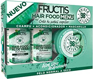 Garnier Fructis Hair Food Menú Aloe Vera Pack Champú + Acondicionador + Mascarilla para Pelo Normal a Seco - Crea tu Menú Capilar: Amazon.es: Belleza