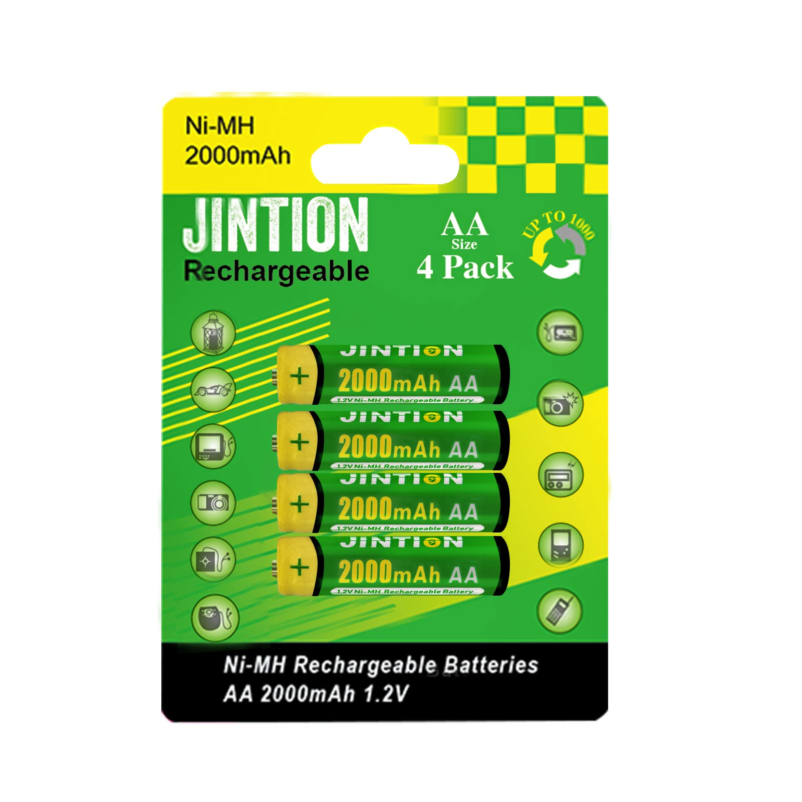JINTION Rechargeable AA Batteries 4 Pack 2000mAh NiMh 1.2V AA Batteries high