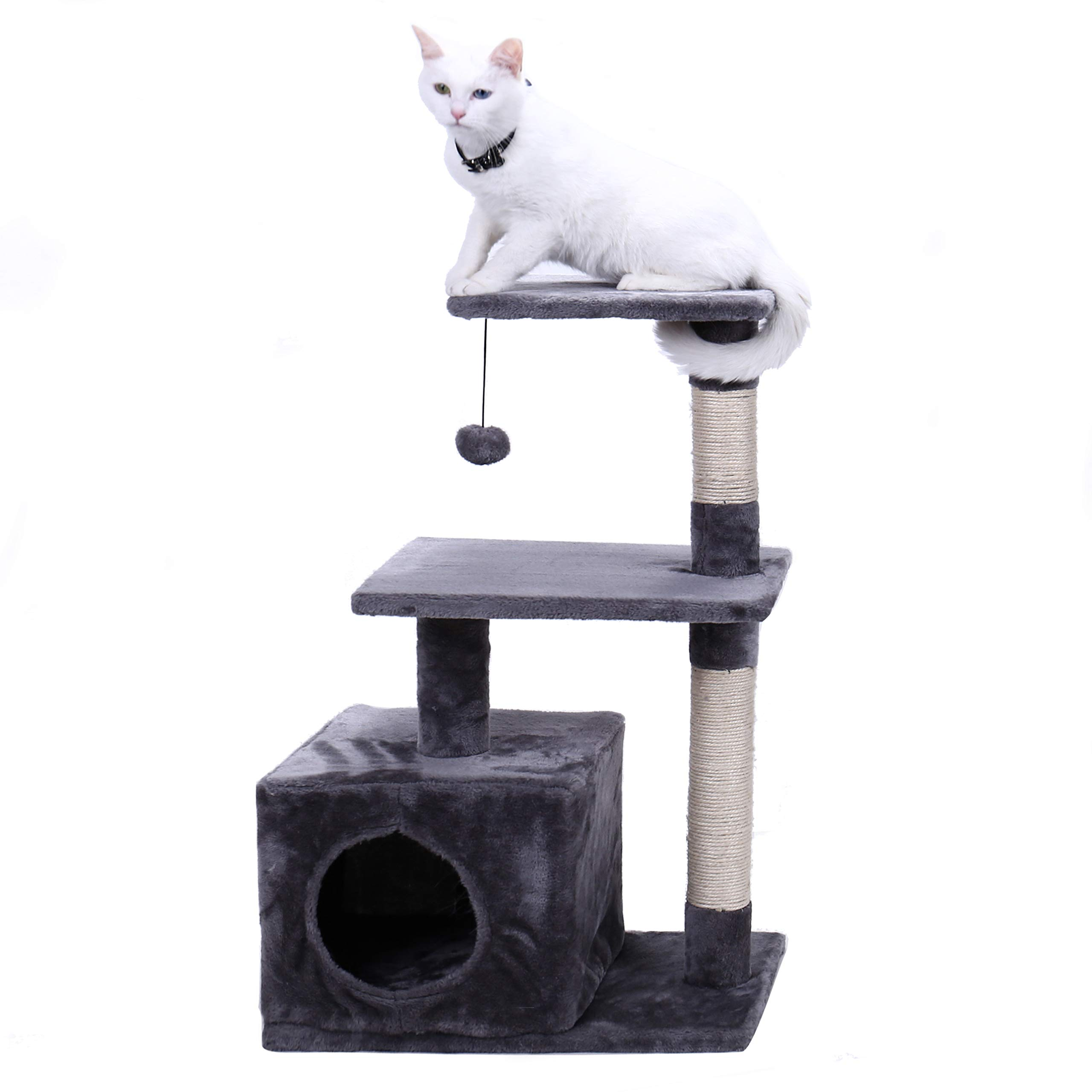PAWZ Road Cat Tree 34'', Kitten Activity Tower Condo Stand with Deluxe Scratching Posts, Natural Sisals