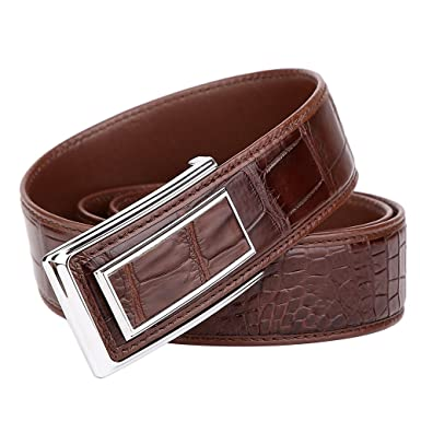 4dfc6f4939a BOMEANS Crocodile Leather Belt New Men Smooth Buckle High-End Luxury Men  Waist Strap
