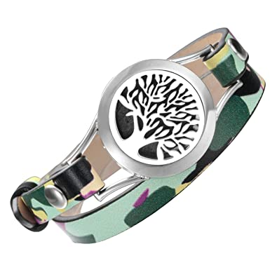 EVERLEAD Unisex aromatherapy Essential Oil diffuser Bracelet/fragrance stainless steel locket bracelet with leather belt HZBn3vm