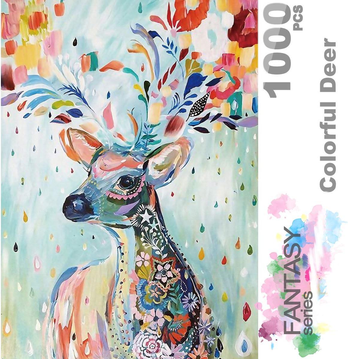 Ingooood- Jigsaw Puzzle- Fantasy Series- Flower Raindrop Colorful Deer - 1000 Piezas para Adultos