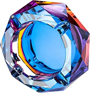 Crystal Ashtray Outdoors Indoors Cigarette Ashtray Ash Holder Case Bling Bling Blue Home Office Desktop Smoking Ash Tray Beautiful Decoration Craft