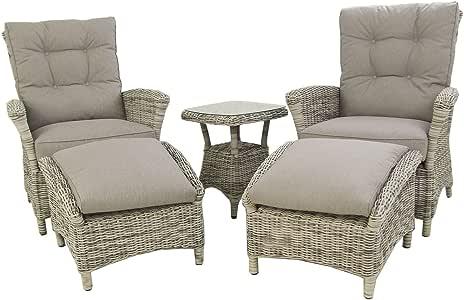Conjunto de sofás jardín, Mesa Auxiliar, 2 sillones reclinables y ...