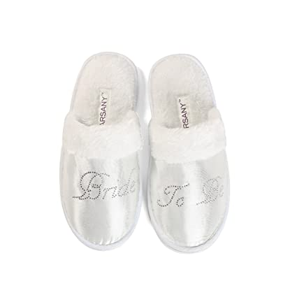 c89fce6cf16bf Clear Bride To Be Spa Slippers Hen party Wedding Diamante rhinestone  crystal hotel honeymoon slippers  Amazon.co.uk  Kitchen   Home