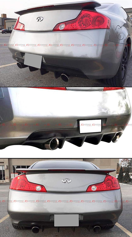 Fits for 2003-2007 Infiniti G35 2 Door Coupe Black JDM Shark Fin Rear Bumper Diffuser Lip
