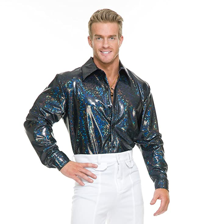 70s Costumes: Disco Costumes, Hippie Outfits Charades Mens Night Lights Costume Disco Shirt $42.06 AT vintagedancer.com