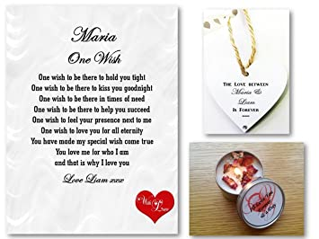 personalised romantic poem gift set one wish love letter husband wife boyfriend