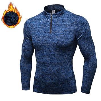 Camiseta de entrenamiento de entrenamiento para hombre, gimnasio, manga larga, sudadera cálida,