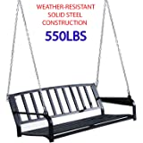 550Lbs Weather-resistant & Solid Steel Construction Patio Porch Hanging Swing Chair Garden Deck Yard Bench Seat Outdoor…