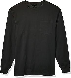 Medium Burgundy Essentials Mens Regular-Fit Long-Sleeve Pocket T-Shirt