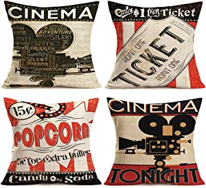 "Fukeen Vintage Cinema Decorative Pillow Covers Set of 4 Movie Theater with Fresh Popcorn, Projector, Admit One Ticket Decorative Pillow Cases Cotton Linen Square 18""x18"" Home Couch Decor Cushion Cover"
