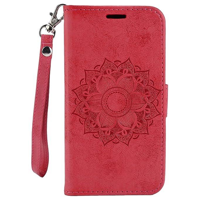 EUWLY Carcasa Huawei Y6 2015, Funda Huawei Y6 2015 de Cuero - Mandala,Rojo