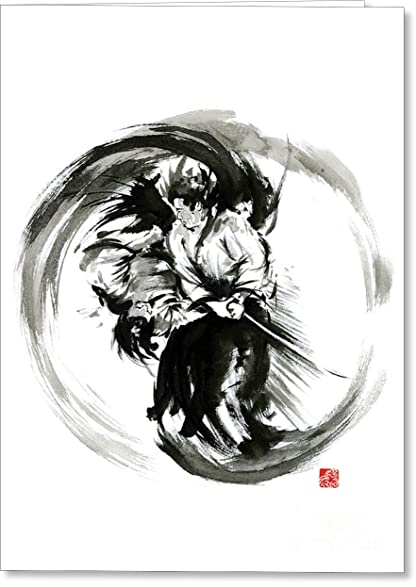 Amazon all occasions greeting cards aikido techniques martial all occasions greeting cards quotaikido techniques martial arts sumi e black white round m4hsunfo