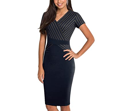 Processes Optical Illusion Vestidos Office Business Sheath Women Dress at Amazon Womens Clothing store: