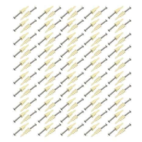 sourcing map 100 piezas Anclaje de Yeso de Auto perforación de Kit de Tornillo de cabeza