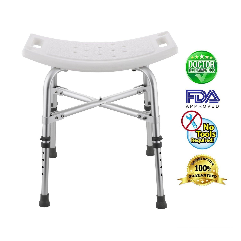 Adjustable Shower Stool Seat, Portable Bath Seat, Shower Bench Bathroom Aid Chair Medical Shower Bath Chair Bathtub Stool with Removable Back (Without Back)