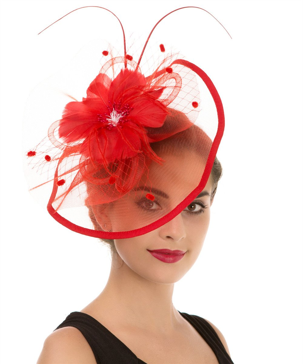 c7c356ebf Details about Lucky Leaf Women Girl Fascinators Hair Clip Hairpin Hat  Feather Cocktail Wedding
