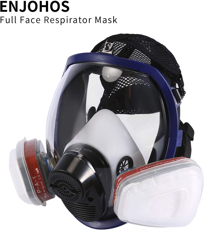ENJOHOS Full Mask Paint Respirador de respiración completa de silicona con certificación CE, 2 filtros de algodón integrados para pintura, polvo, soldadura, aserrado
