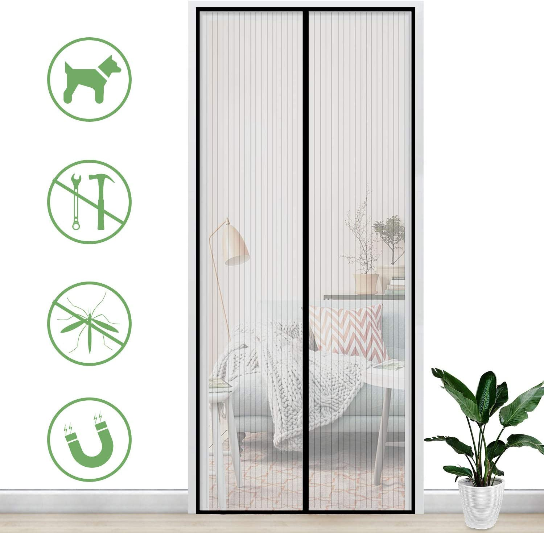 Gimars Cortina mosquitera doble magnetica puerta exterior sin tornillos, Mosquitera puerta corredera lateral con iman para terraza/habitacion Fácil de instalar (110 * 220)
