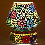 Derien Mosaic Glass Mushroom Shaped Table Lamp (16 x 16 x 18cm, Multicolour)