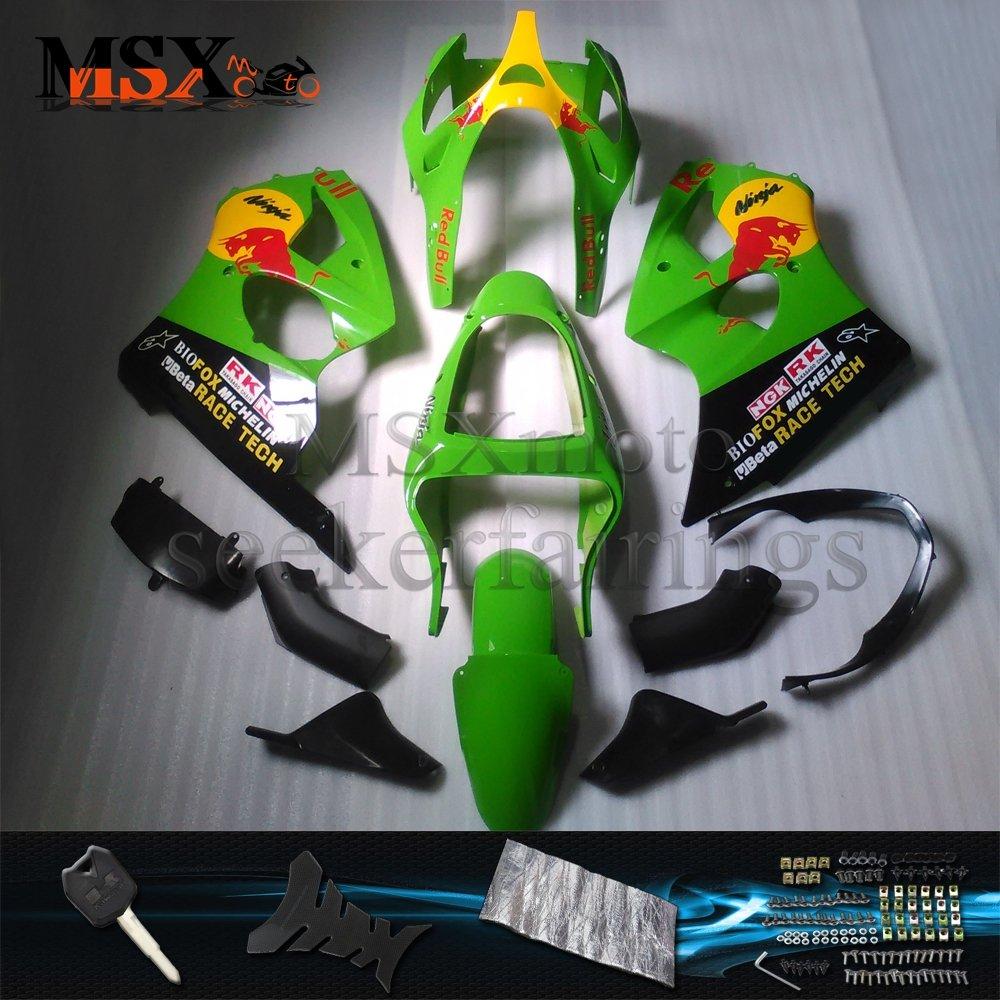 MSX-moto 適応 ZX6R 2000 2001 2002 ZX636 ZX 6R Ninja 00 01 02年 外装パーツセット ABS射出成型完全なオートバイ車体 绿/グリーン&黒/ブラックのボディ   B07DZLG1PB