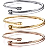 2879f0d4d47 HUANIAN Stainless Steel Triple 3 Stackable Cable Wire Twisted Cuff Bangle  Bracelet for Women, Gold